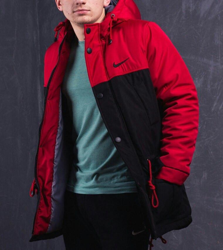 ad3d39b0 Мужская зимняя парка Nike черно-красная топ реплика - Интернет-магазин  обуви и одежды