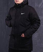 Мужская зимняя парка Nike черная топ реплика