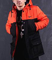 Мужская зимняя парка Nike черно-оранжевая топ реплика