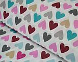 Отрез ткани 57*160 с разноцветными сердечками розово-бирюзовыми №298а, фото 2