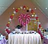 Свадебное украшение шарами. Переплетение сердца из шаров в  Днепропетровске