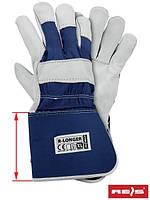 Защитные перчатки, укрепленные лицевой кожей (перчатки кожаные рабочие REIS Польша) R-LONGER GW
