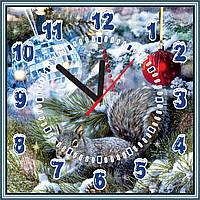 Квадратные настенные часы Новогодние 25х25 см