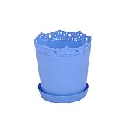 """Вазон-кашпо """"Ришелье"""" с подставкой V=1л(d=13см h=13,5см) голубой """"Алеана"""""""