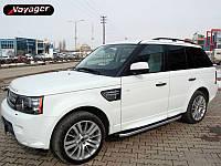 """Рейлинги Land Rover Range Rover Sport   2002-2014 Crown (тип skyport), сплошный алюминий, цвет """"Черный"""""""