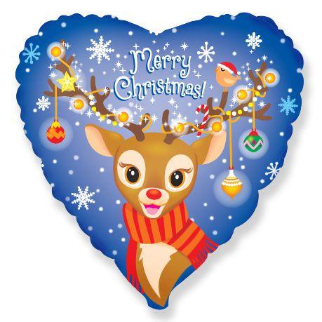 """Фольгований серце із зображенням милого оленя Рудольфа і написом """"Merry Christmas"""""""