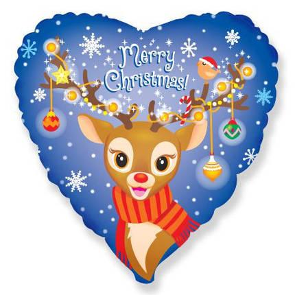 """Фольгований серце із зображенням милого оленя Рудольфа і написом """"Merry Christmas"""", фото 2"""