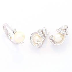Золотой набор с бриллиантом и жемчугом