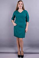 Виктория. Модное платье больших размеров. Изумруд., фото 1