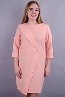 Лидия. Нарядное платье супер батал. Персик., фото 1