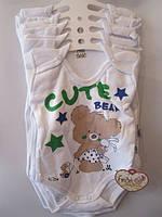 Детское боди-футболка 68-86.Белый. Оптом.