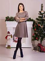 Стильное коричневое платье с атласным поясом в комплекте