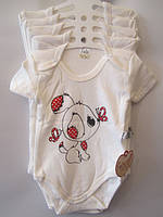 Детское боди-футболка 68-86.молочный. Оптом.