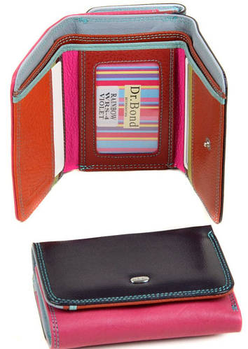 Превосходный женский кожаный кошелек dr.Bond WRS-4 violet фиолетовый