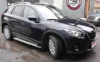 """Рейлинги Mazda CX5 Crown (тип skyport), сплошный алюминий, цвет """"Серый мат"""""""