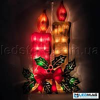 Светящаяся новогодняя фигура-планшет Свеча
