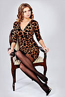 Эфектное облегающее леопардовое платье с молнией на груди