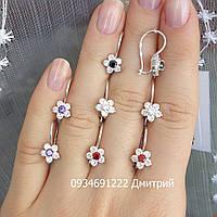 Серебряные серьги Цветочки на петельке