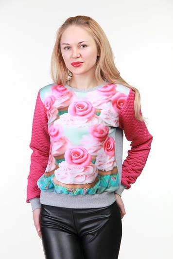 Модный свитшот с рисунком Кексы и розы