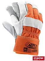Защитные рукавицы укрепленные высококачественной воловьей кожей (перчатки кожаные рабочие) RBCMORANGE PJS