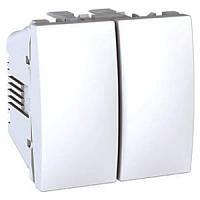 Механизм выключателя 2-кл., 2 модуль, Unica белый, MGU3.211.18