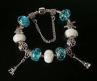 Женский серебряный браслет Pandora (Пандора) с бирюзовыми подвесками муранского стекла