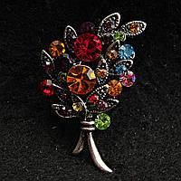 [23/35 мм] Брошь темный металл Букет Цветов, украшенная разноцветними яркими камнями