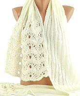 Вязаный ажурный женский шарф с блестками Traum 2483-05, белый