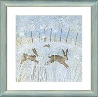Набор для вышивания крестиком Зимние зайцы