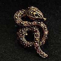 [20/35 мм] Брошь медного цвета извивающаяся змея , с камнями янтарного оттенка, с черными камушками в глазах