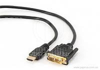 Кабель Gembird ССВ-НDMI-DVI-6, папа HDMI / DVI 18 +1 одна ссылка папа, позолоченные коннекторы 1,8 м