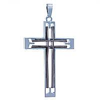 Кулон Крестик,металл двух цветов темное и светлое серебро