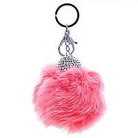 Брелок для сумок и ключей Бумбон  розовый (натуральный мех кролика), украшен шапочкой со стразами, металл под серебро