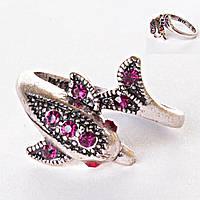[17,18,19,20] Кольцо розовый дельфин стразы вокруг пальца 18