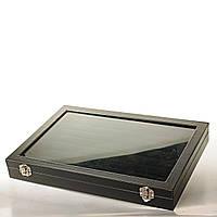 [35/25/4 см] Бокс витрина для колец со стеклянной крышкой. Черная деревянная