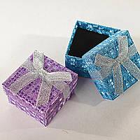 Подарочная коробочка для украшений маленькая 24 шт. Ассорти цветов. Блестка узор [5/5/4 см]