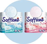 БумагатуалетнаяSoffioneDecoro,по4рулона в упаквоке.,нагильзе2-хсл.,белый/голубой