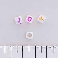 Фурнитура бусина белая с английским алфавитом ассорти,материал пластик, цена за 1 шт