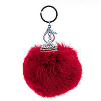 Брелок для сумок и ключей Бумбон красный (натуральный мех кролика), украшен шапочкой со стразами, металл под серебро