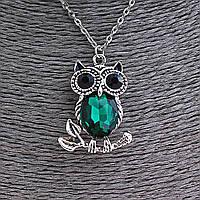 Кулон на цепочке Сова на веточке с зелёным и чёрными стразами, цвет серебро, 35мм