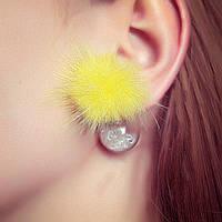Серьги матрешка Dior натуральный мех страза стекло с наполнителем кристаллы Желтый