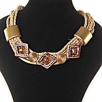 [15-40 мм] Ожерелье античное телесного и золотистого цвета, канаты, бусины в ромбовой оправе и металлические вставки