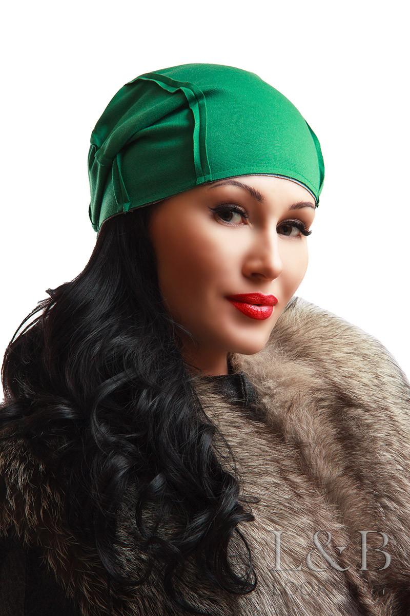"""Двухсторонняя шапка """"Спейс"""" зеленый+серый"""
