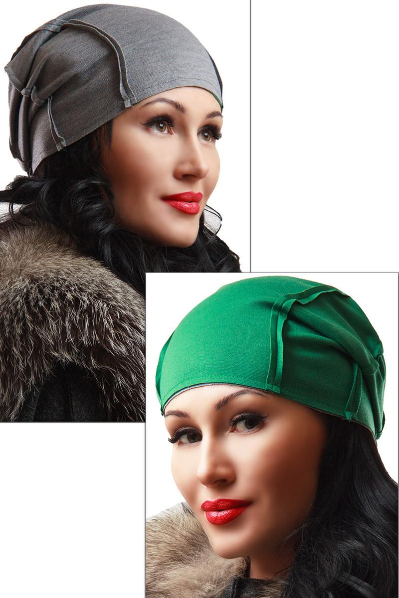 """Двостороння шапка """"Спейс"""" зелений+сірий"""