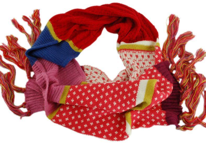 Интересный теплый женский шарф Traum 2483-37, разноцветный