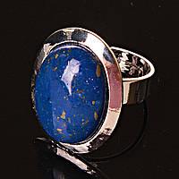 Кольцо безразмерное овал Лазурит гладкая оправа