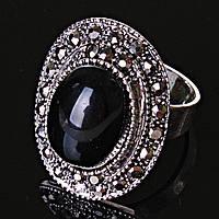 Кольцо безразмерное овал ажур черная страза Агат
