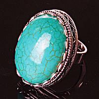 Кольцо безразмерное крупный овал ажур Голубая Бирюза