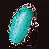 Кольцо безразмерное ажур овал крыпное Зеленая Берюза
