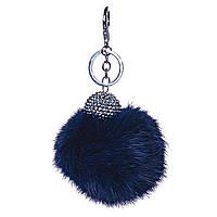[25мм] Брелок на сумку, рюкзак Бумбон натуральный мех кролика страза с двумя типами крепления синий